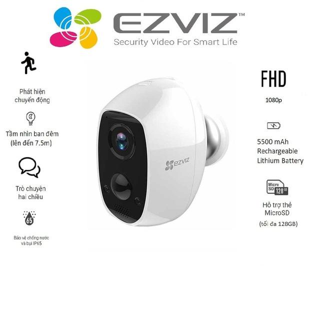 Camera wifi không dây sử dụng pin sạc Ezviz CS-C3A – Hàng chính hãng