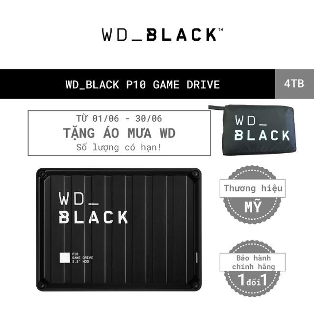 [Mã ELWDSD giảm 8% tối đa 300K] Ổ cứng HDD WD BLACK P10 Game Drive 4TB 2.5″, 3.2 (WDBA3A0040BBK-WESN)