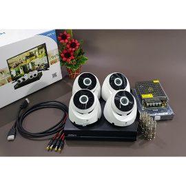 Bộ KIT Camera Dahua CVI vỏ sắt: 1 đầu ghi + 4 mắt gắn trần Hàng chính hãng