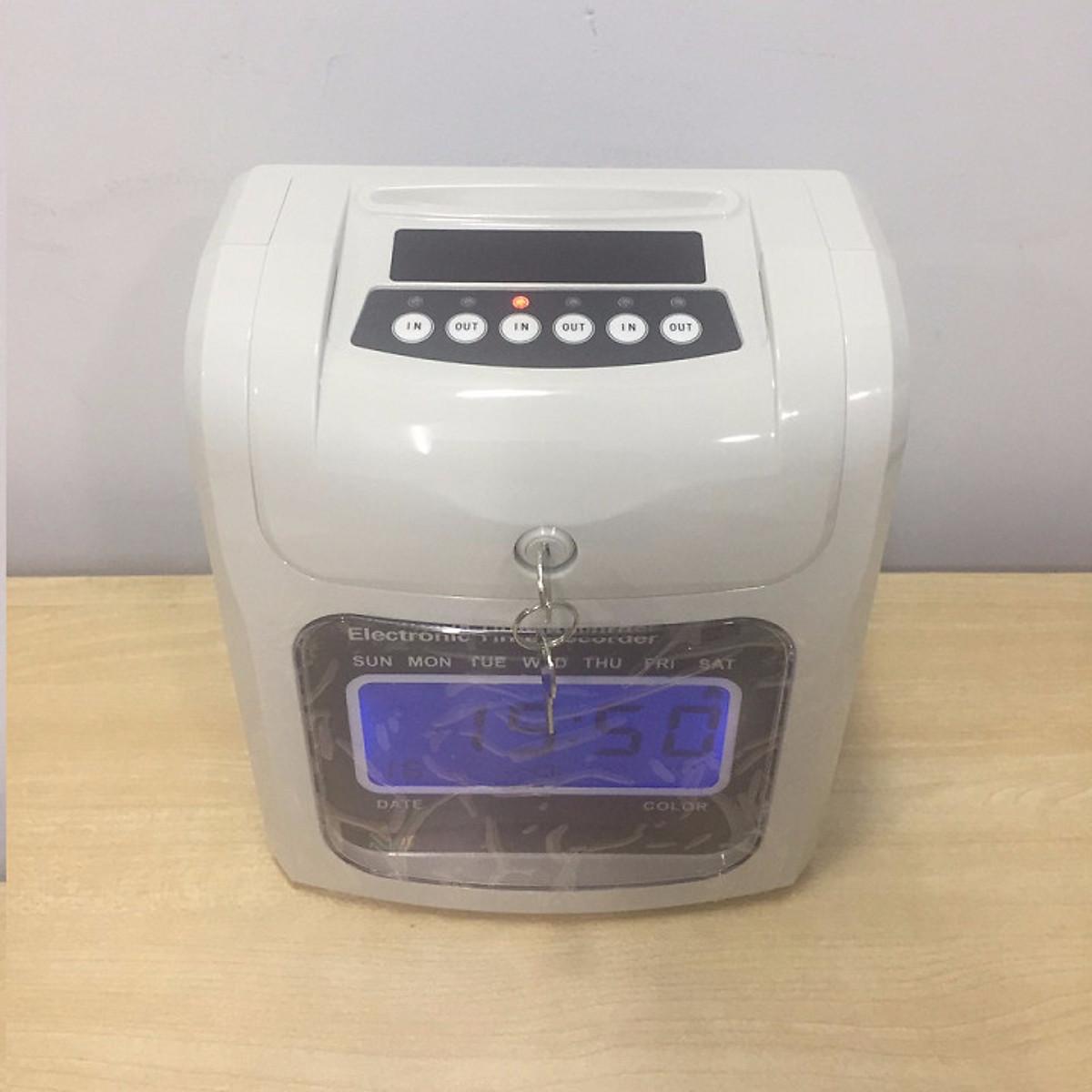 Máy chấm công thẻ giấy đồng hồ điện tử A08 ( hàng nhập khẩu)