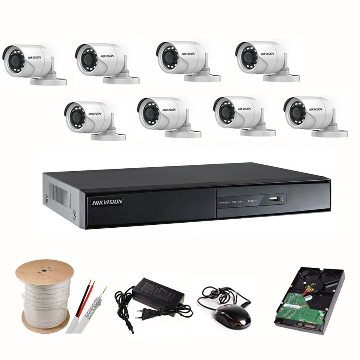 Bộ Camera Quan Sát HIKVISION 8 Kênh 2.0MP FHD 1080P – Trọn bộ 8 mắt 2.0MPX – Đủ Phụ Kiện Lắp Đặt ( HDD1TB ) – Hàng Chính hãng