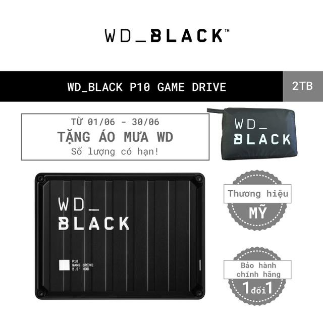 [Mã ELWDSD giảm 8% tối đa 300K] Ổ cứng HDD WD BLACK P10 Game Drive 2TB 2.5″, 3.2 (WDBA2W0020BBK-WESN)