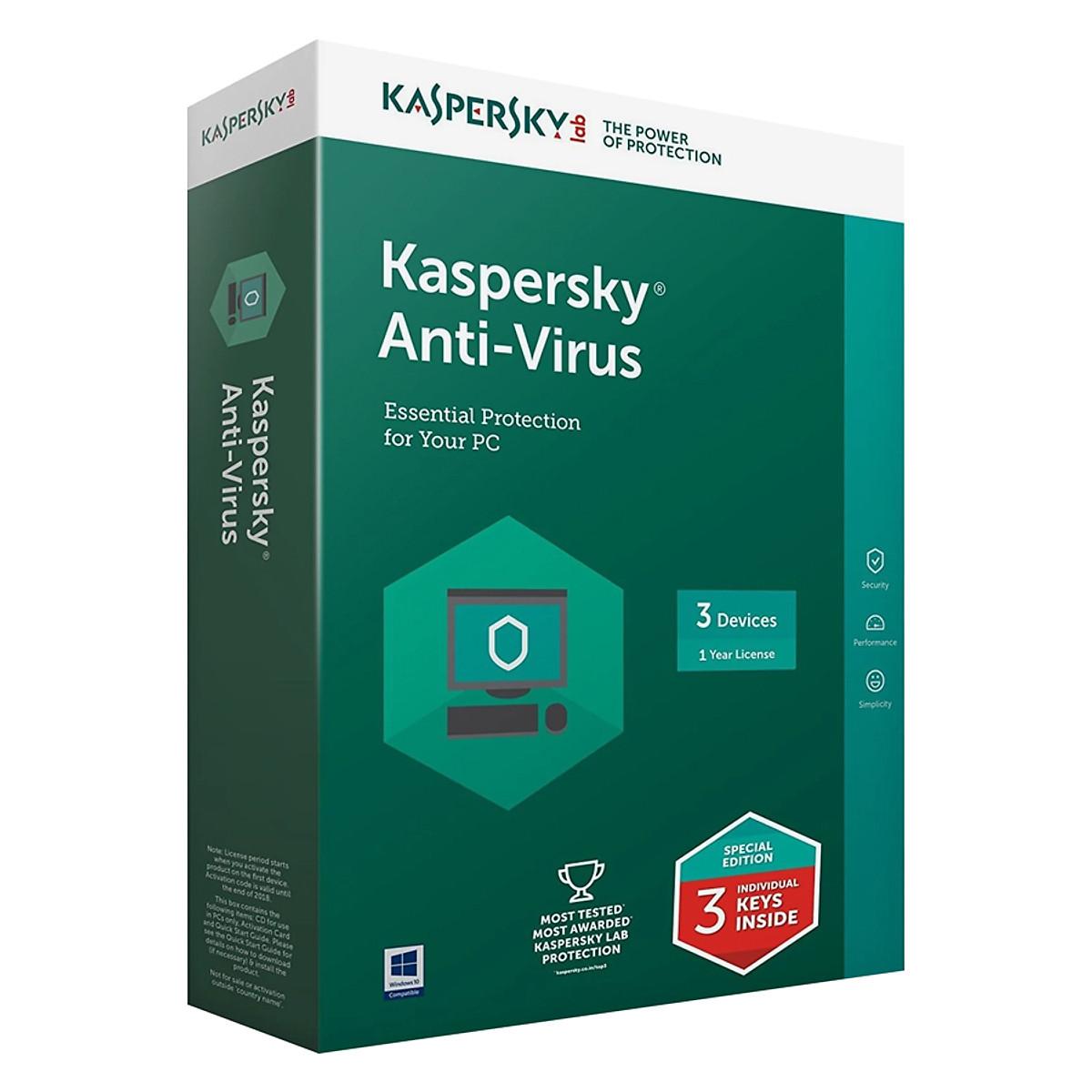 Phần Mềm Diệt Virus Kaspersky Antivirus  (KAV) – 3 User  – Hàng chính hãng