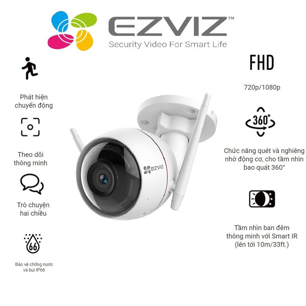 Camera Wifi gắn ngoài trời EZVIZ_CV310 720P/1080P – Hàng chính hãng