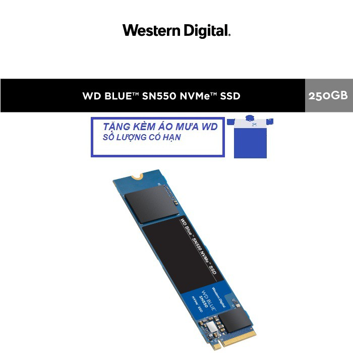 [Mã ELWDSD giảm 8% tối đa 300K] Ổ cứng SSD WD Blue SN550 250GB M.2 2280 NVMe Gen3 x4 WDS250G2B0C Chính hãng