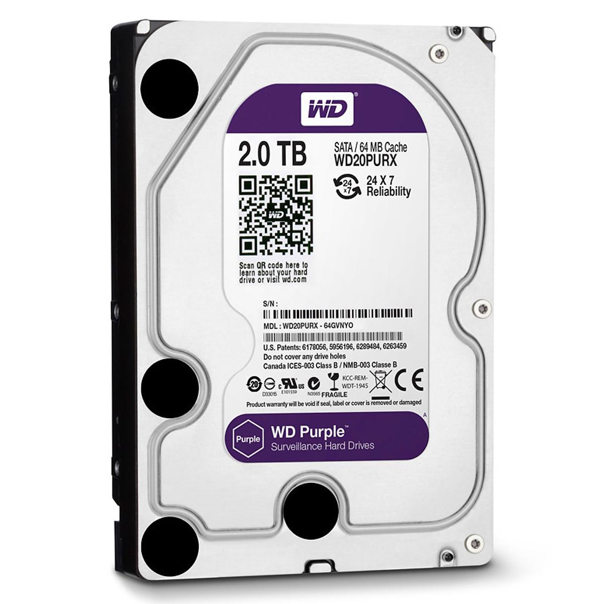 Ổ Cứng Camera WD Purple™ 2TB/64MB/3.5 IntelliPower – WD20PURZ – Hàng Chính Hãng