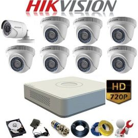 Trọn Gói 9 Camera Analog Hikvision 1Mp ( HD 720)