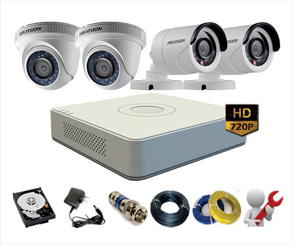 Trọn Gói 4 Camera Analog Hikvision 1.0Mp