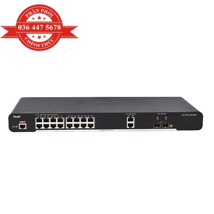 [Mã ELCL3MIL giảm 5% đơn 3TR] Bộ Chuyển Mạch 18 Cổng 10/100/1000 Base-T Managed Switch RUIJIE RG-S1920-18GT2SFP – Hàng