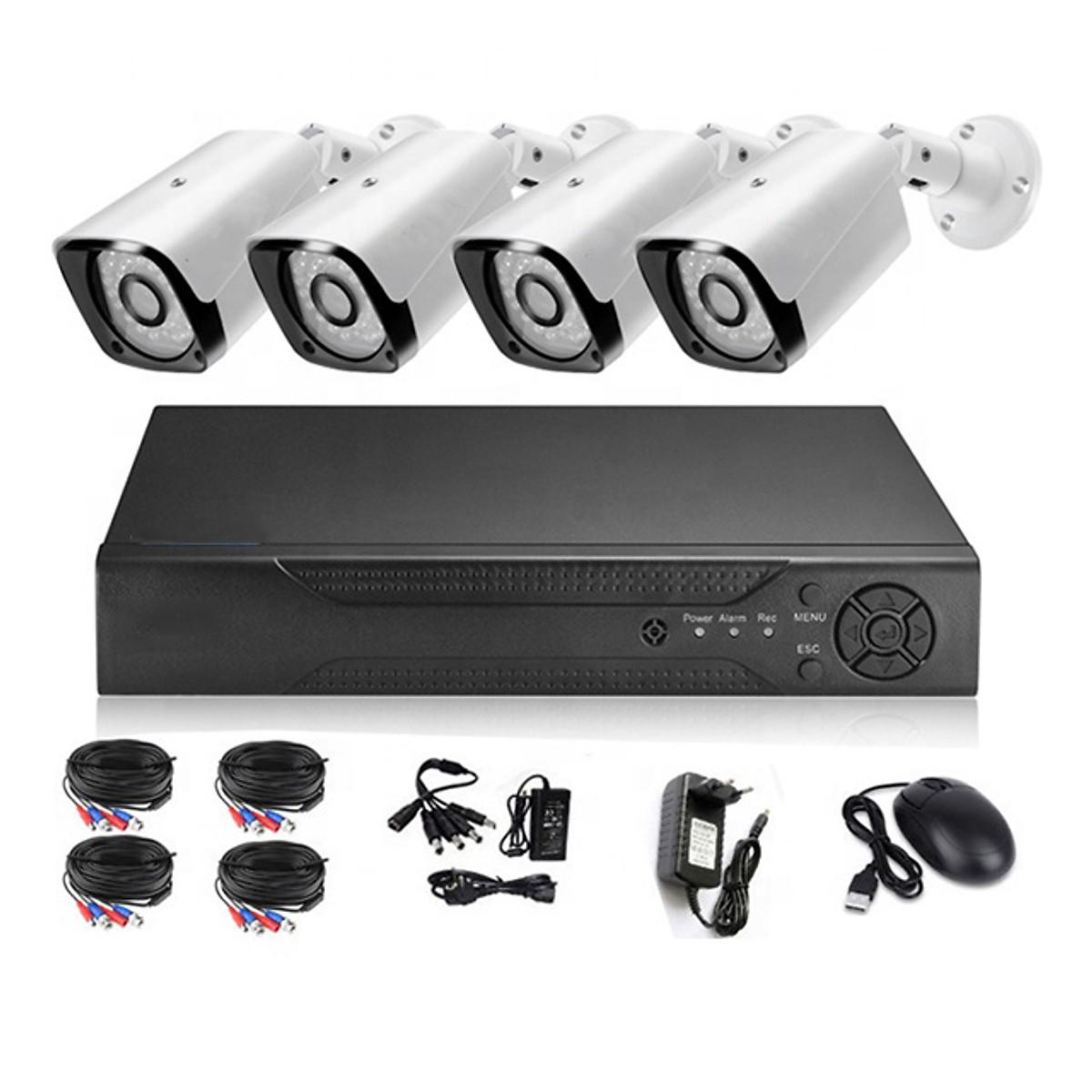 Bộ Camera KIT AHD ONTEK 4 Mắt Full HD 1080P – 2.0MP – Đủ phụ kiện Lắp đặt-Hàng nhập khẩu