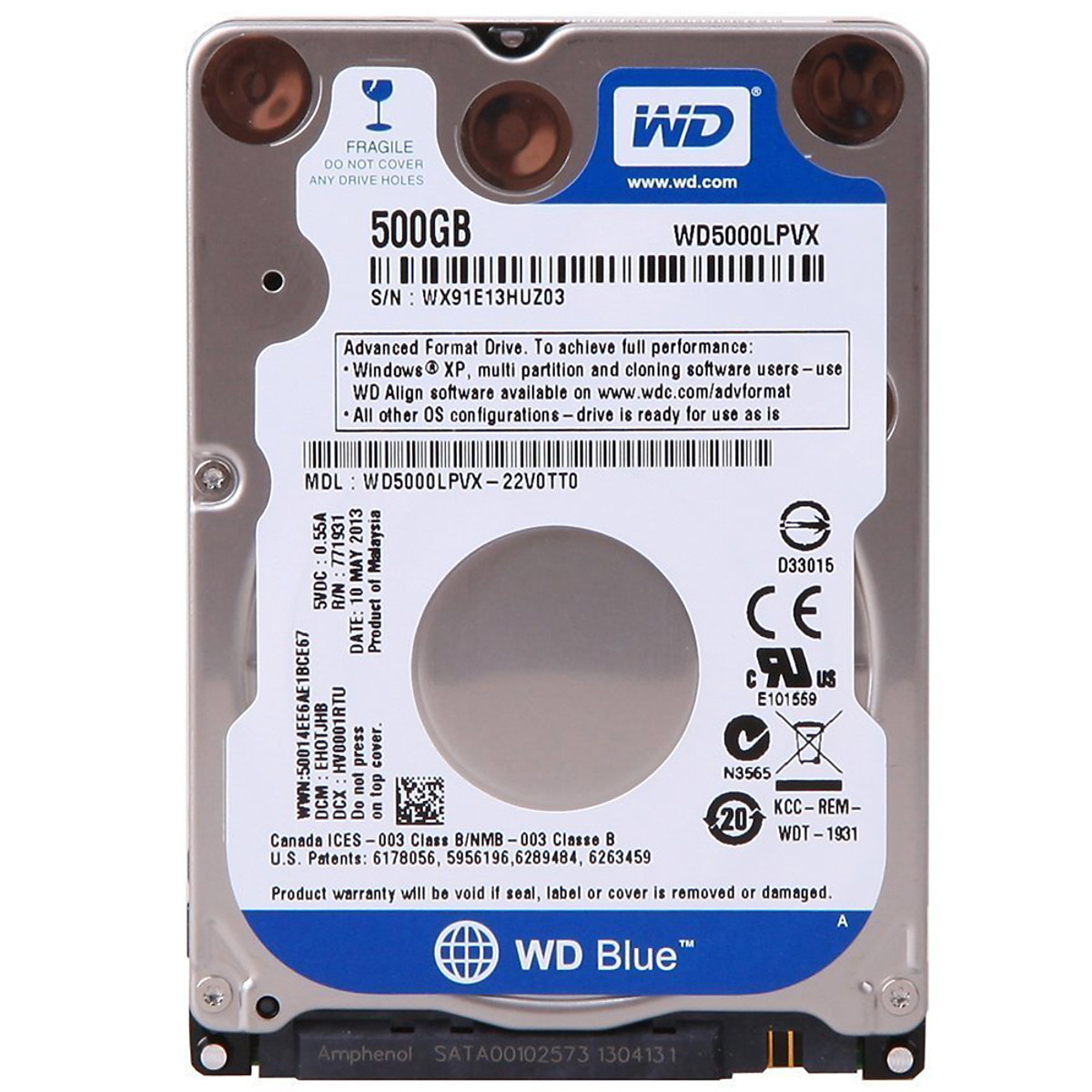 Ổ Cứng Laptop WD Blue 500G/16MB/5400/2.5/7mm – WD5000LPCX – Tặng Kèm Móc Khóa 4Tech – Hàng chính hãng