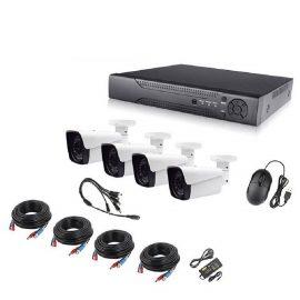 Bộ camera AHD KIT 4 mắt 1080P VỎ KIM LOẠI xem trên điện thoại, tivi, máy tín, Lắp ngoài trời và trong nhà-hàng chính hãng