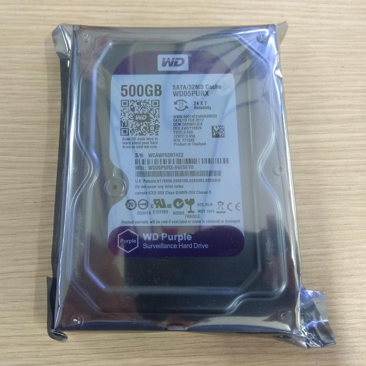 Ổ cứng HDD WD 500GB tím – Hàng nhập khẩu