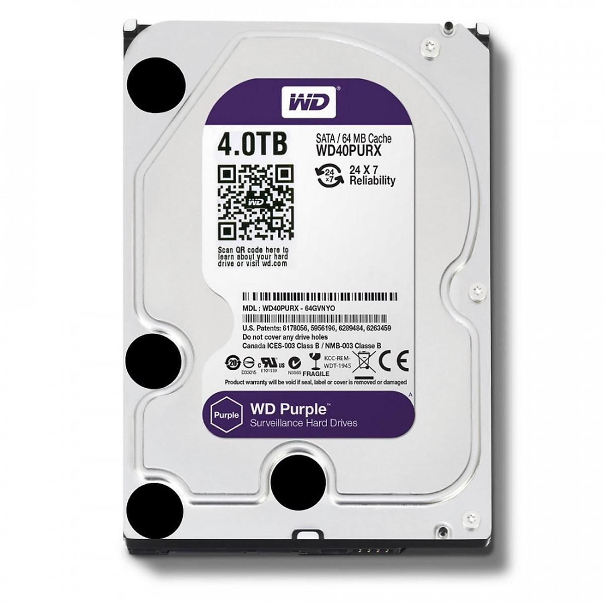 Ổ Cứng HDD Western Digital 4TB 3.5″ Sata 3 64MP WD40PURZ – Hàng Chính Hãng