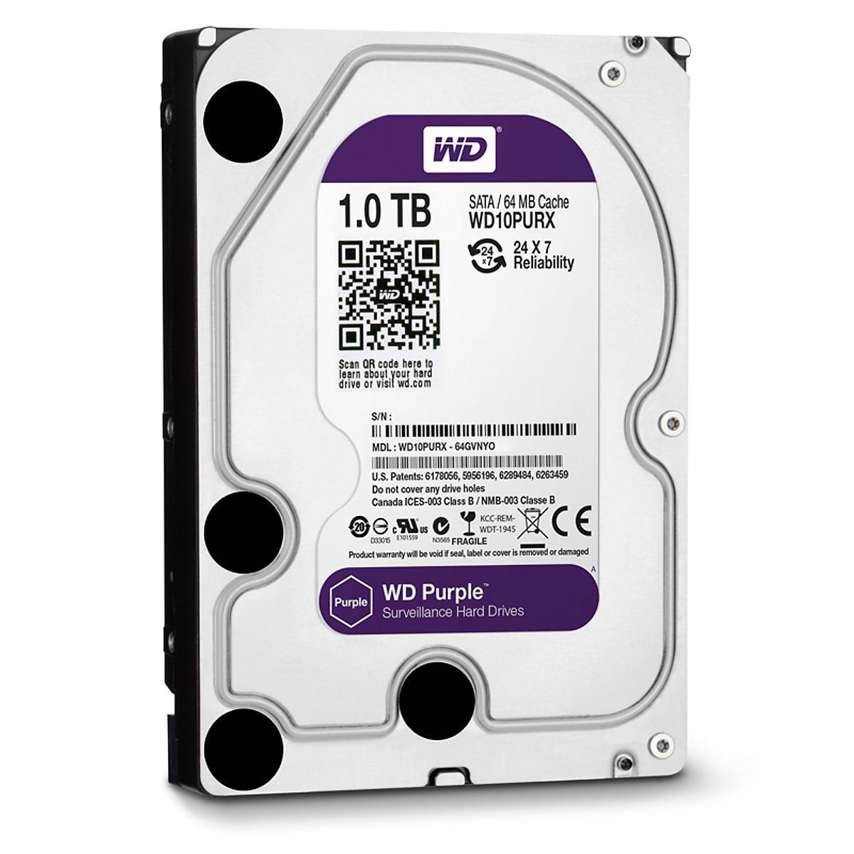 Ổ Cứng HDD WD PURPLE 1TB – Hàng chính hãng