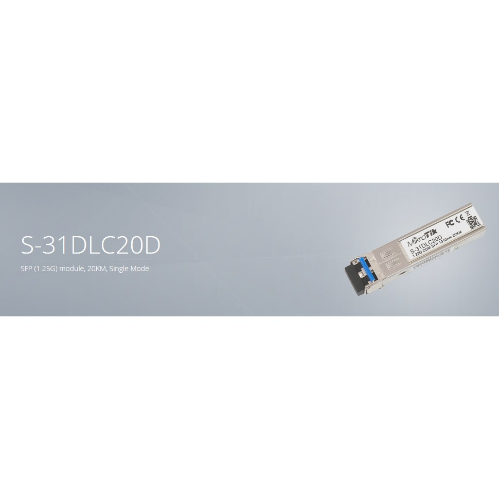 Mikrotik SFP (1.25G) module, 20KM, Single Mode