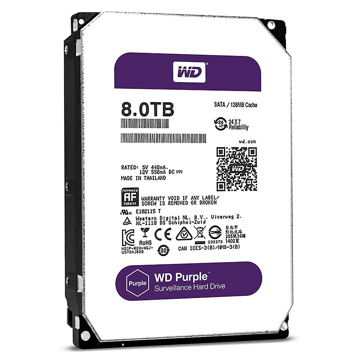 Ổ Cứng HDD Western Digital Purple 8TB 3.5 inch Sata 3 – Hàng Nhập Khẩu