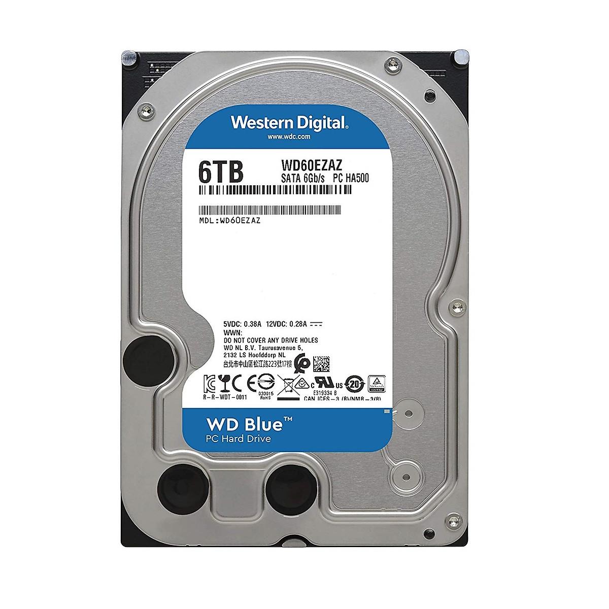 Ổ Cứng HDD WD Blue 6TB/256MB/5400/3.5 – WD60EZAZ- Hàng chính hãng