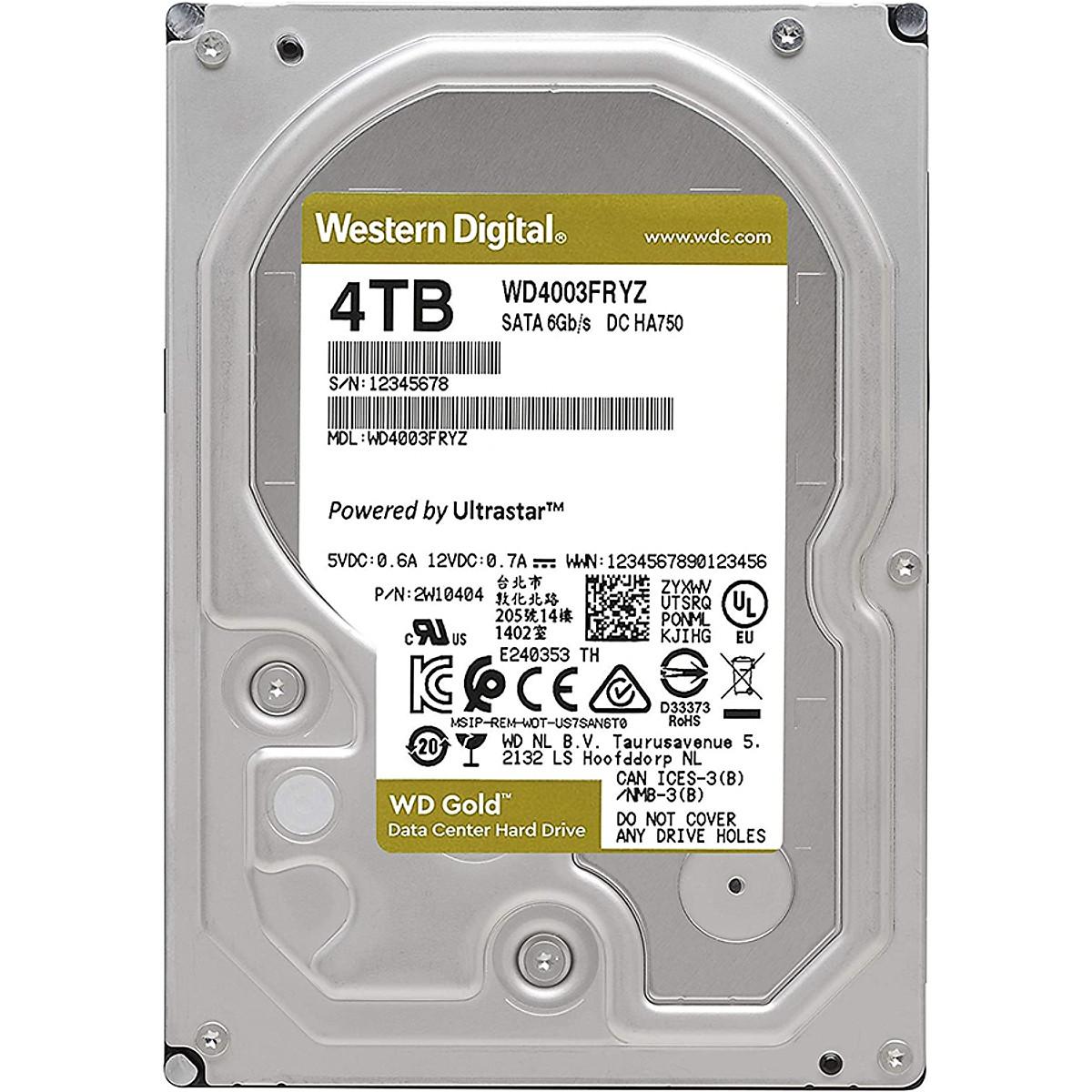 Ổ Cứng Desktop WD HDD Gold 4TB WD4003FRYZ – Hàng Chính Hãng