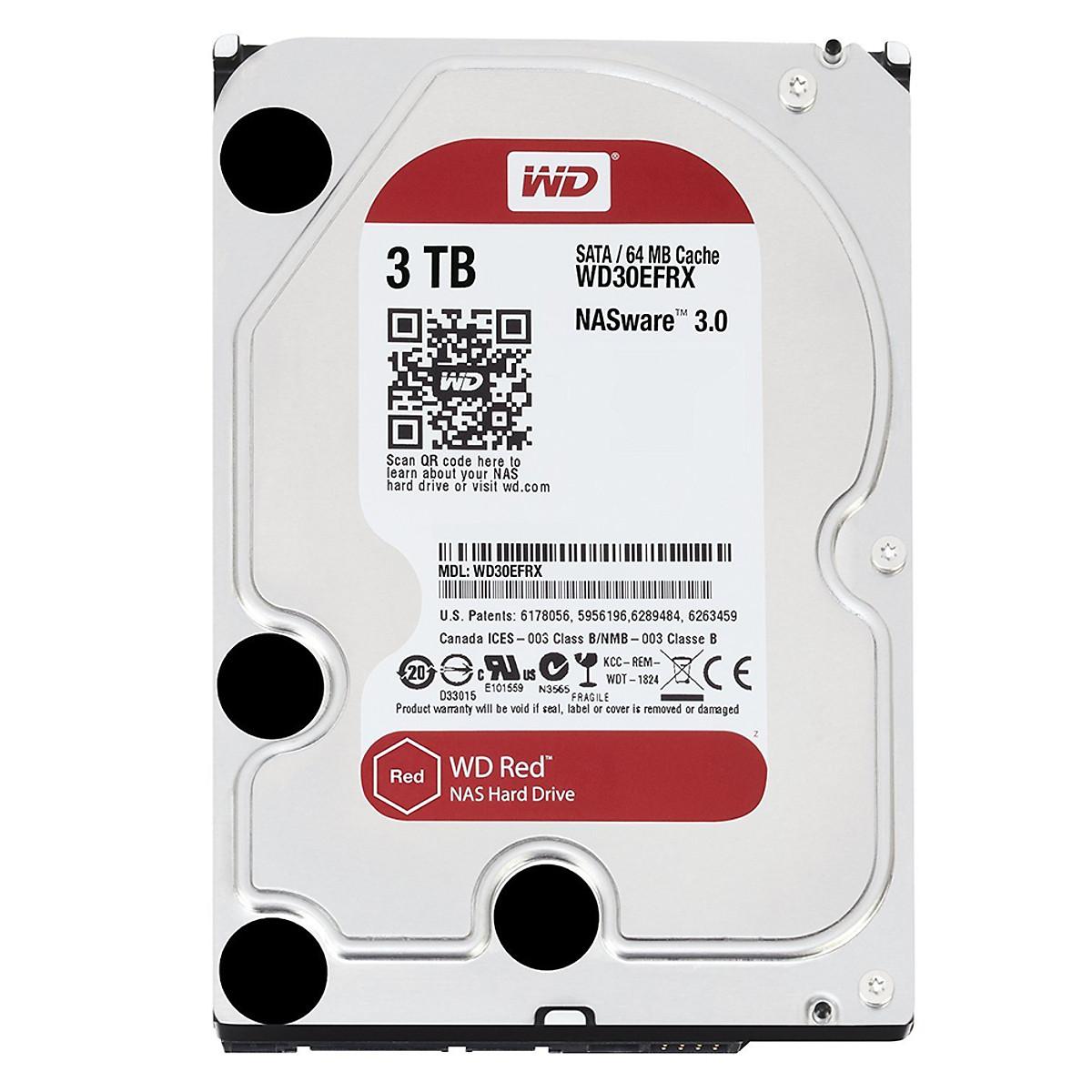 Ổ Cứng HDD NAS WD Red™ 3TB/64MB/5400/3.5 – WD30EFRX – Hàng chính hãng